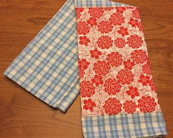 100% Cotton Embellished  Tea Towel: Plaid and Floral