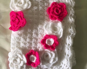 White Crochet Baby Blanket with Pink and White Flowers, Crochet Blanket, Crochet Baby Blanket