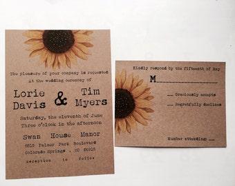 Sunflower wedding invitation - floral wedding invitation - boho wedding - country wedding invitation - rustic wedding invitation brown kraft