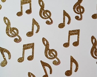 Gold- Music notes- Confetti- Birthday- Party- Die cut Confetti- Table scatter