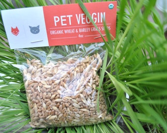 "Organic Wheat & Barley Grass Seeds - ""Pet Veggin"""
