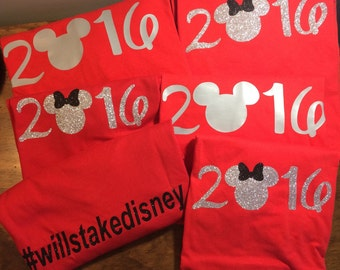 2017 minnie/ mickey mouse shirt, #familytakesdisney on back of shirt, glitter disney shirt, girls Minnie Mouse, family vacation shirt