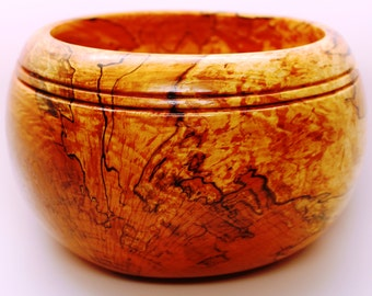 Exotic Spalted Maple Burl Wood Bowl