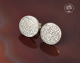 Phaistos Disc silver earrings, antique earrings, Phaistos Disc, silver Phaistos Disc, greek earrings, ancient earrings, greek jewelry, greek