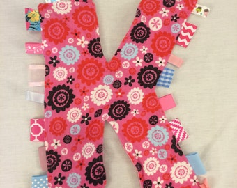 Personalised Pink Letter Taggie Baby Toy