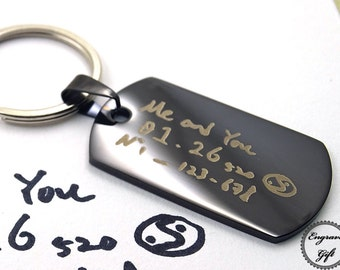 Custom Made Actual Handwriting, Signature , Drawing Replica Engrave, Memorial Scrip Gift Stainless Steel Tag Charm KeyChain Medium Size
