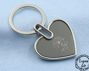 Unique Personalized Gift, Text Font, Real Handwriting, Signature, Drawing, Kid Draw, Replica,Logo, Image, Memorial, Oval Name KeyRing