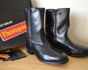 Thorogood Leather mens boots. USA 8.5 D . UK 7 black Job-Fitted . New old stock . Made in USA