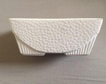 Vintage USA Pottery White Rectangular Planter