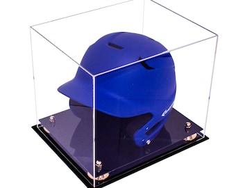 Baseball Batting Helmet Clear Acrylic Display Case with Risers
