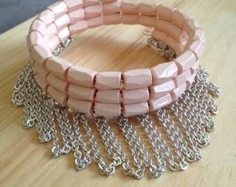 Pink Magnetic Fringe Bracelet
