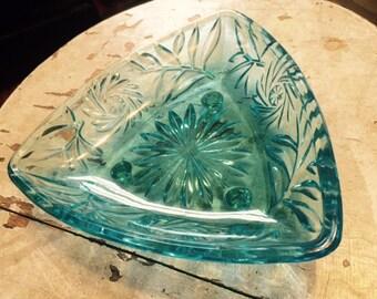 Vintage Hazel Atlas Blue Glass Dish, Triangle candy dish