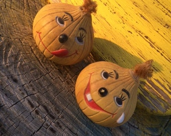 Summer Item Sale! Mr and Mrs Onion Salt and Pepper Shakers, Happy and Crying Onions, Set of Shakers