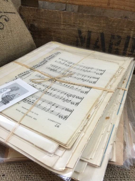 Vintage Music Paper for Crafting | Music Paper Gift Pack | Paper For Crafting and Wedding Confetti | Decoupage Papier | Collage Paper