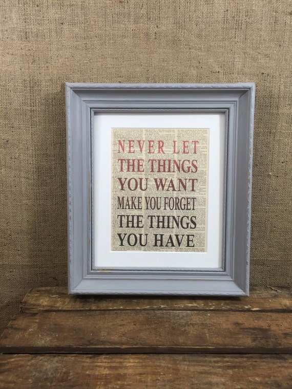 GREY WALL ART / Framed Inspirational Life Quote / Vintage Dictionary Page Print / Word Art Gift / Framed Grateful Life Gift / Red Art Print