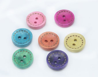 Wood Buttons Mixed Stitch Colours - Sewing Buttons - Craft Buttons - 10 Assorted Buttons
