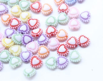 50 Cute Heart Beads - 7mm Heart Beads