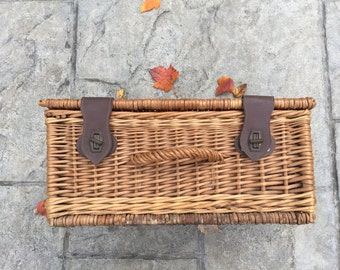 Vintage Wicker Suitcase French Wicker Storage Basket Picnic