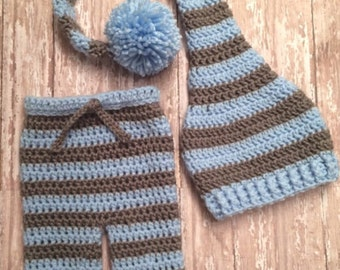 Baby boy newborn outfit, baby boy pants, baby boy hat, infant boy outfit, homecoming outfit boy, long tail hat, stocking hat