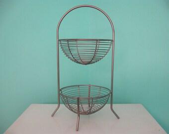 Vintage Retro Metal Two Tiered Fruit Basket Kitchen Storage~Mid Century Modern Retro Silver Metal Storage Basket