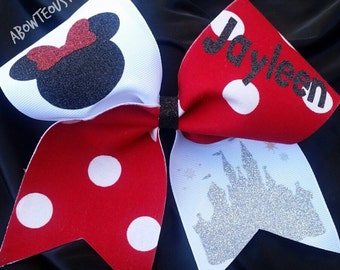 MINNIE MOUSE custom name disney cheer bow