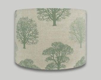 Green Trees Drum Lampshade Lightshade Lamp shade 20cm 25cm 30cm 35m 40cm diameter range of depths in each size