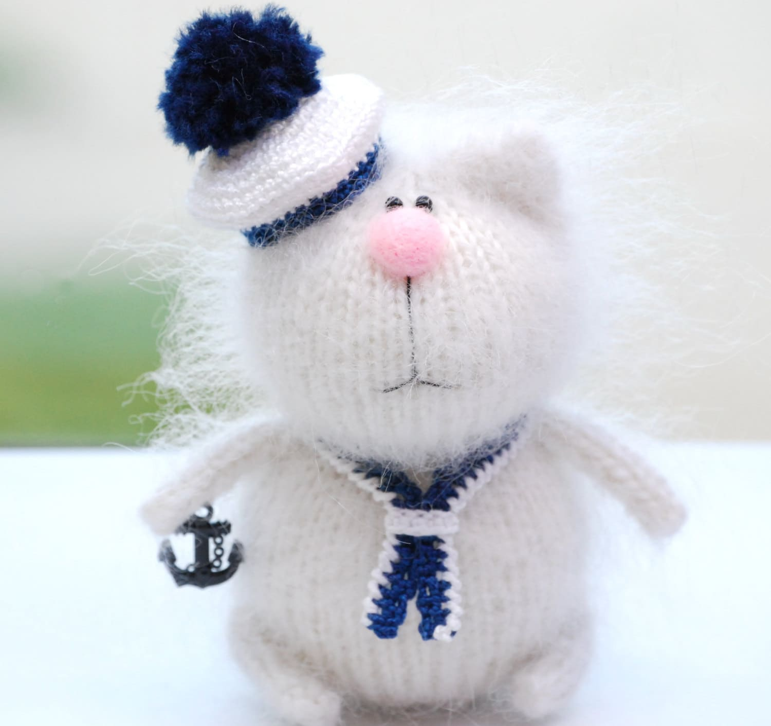 Amigurumi Wool : SALE Marine CAT Amigurumi Knit Miniature Little Wool Kitty