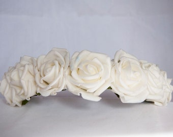 Floral Crown Flower Headband Hairband - White Ivory Roses Wedding Festival Hair Accessories Bridal Bridesmaid Flowergirl Special Occasion