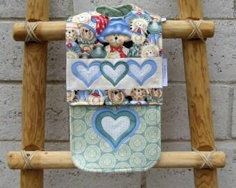Lots of Love Burp Cloth and Bib Set-Appliqued Hearts-Stuffed Animals-Super Absorbent-Reversible Bib