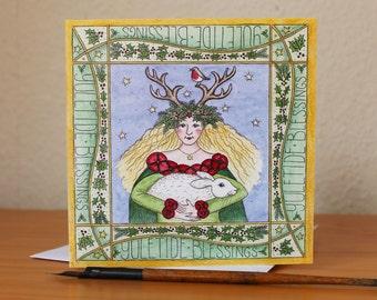 Yuletide Goddess Christmas Card Fantasy Hare Winter Solstice Pagan Yuletide Square Blank Greetings Card Sale Half Price