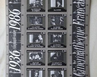 """French stamps of 1986 """"La Cinémathèque Française"""" / 1936 cinquantenaire 1986"""
