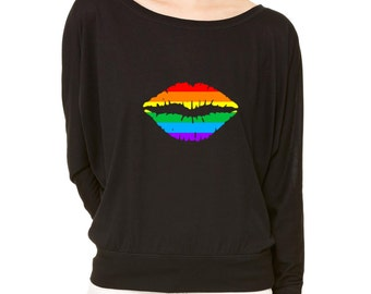 Rainbow Lips Long-Sleeve Don't Afraid From Colors LGBT Flowy Shirt