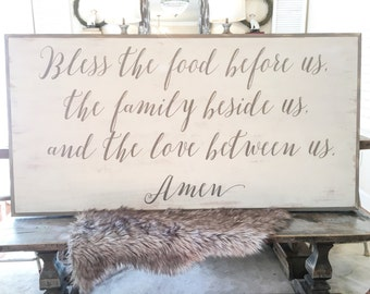 2x4 Food, Family, and Love Blessing Sign.