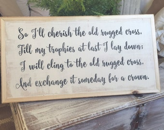 Old Rugged Cross 1x2 Handpainted Wood Sign