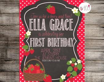 Strawberry Invitation, Strawberry Birthday Invitation, Strawberry Birthday Party, Childs Birthday- Printable Invitation