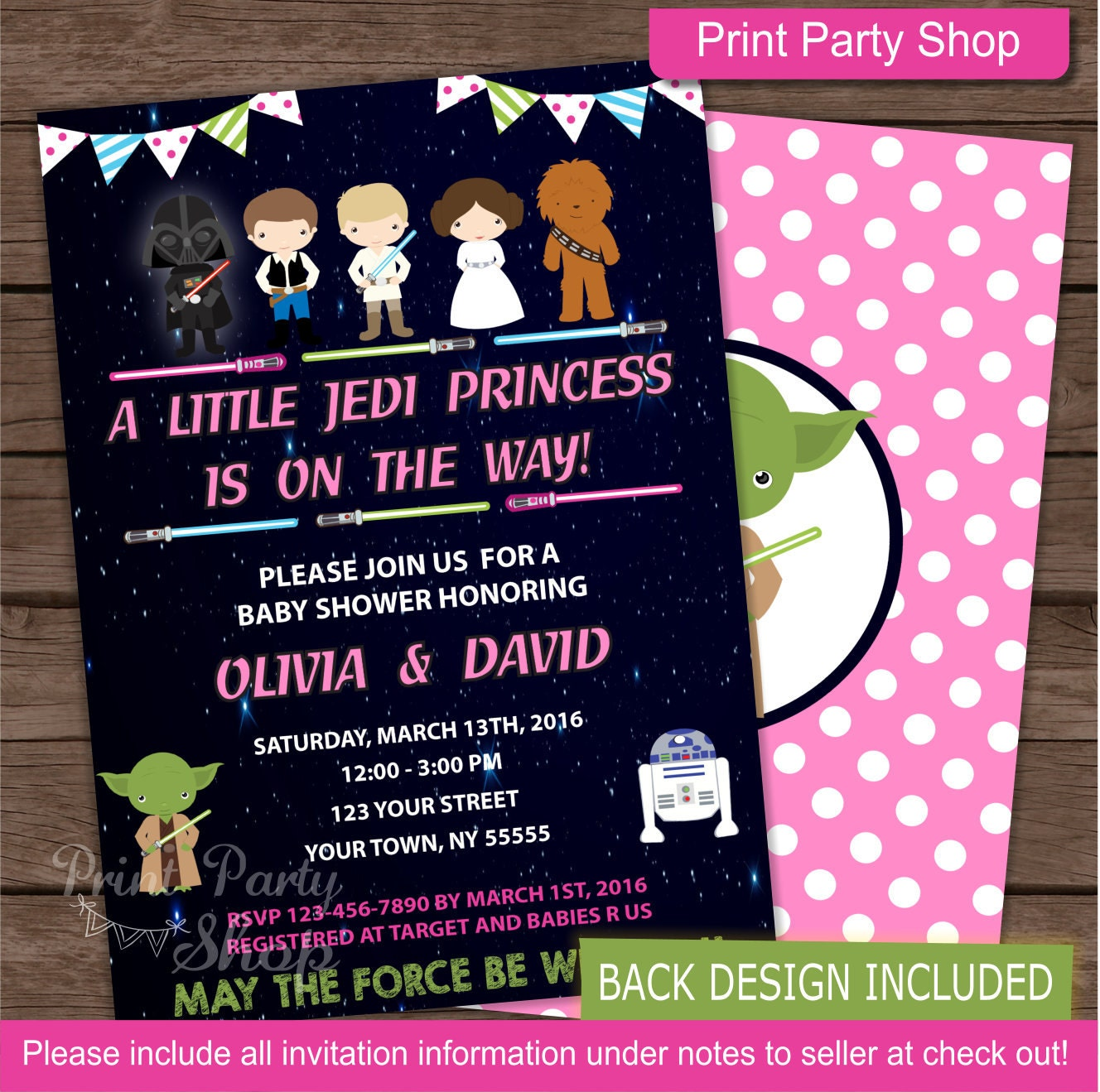 girl star wars baby shower invitation baby shower invitation
