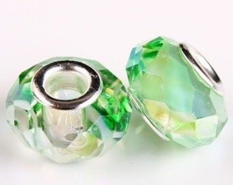 5 Faceted Iridescent Spring Green Glass Beads 14mm Fits European Charm Bracelets - 31F