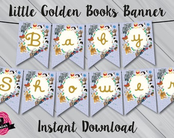 Little Golden Books Baby Shower Bunting Banner. Instant Download! Digital File/Printable.