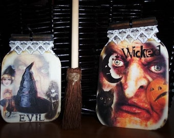 FOUR large Vintage Halloween Witch Mason Jar Hang Tags / Gift Tags