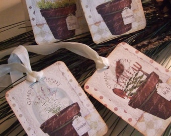 FOUR Primitive Herb Pots Hang / Gift tags