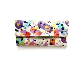 Colorful clutch, bold pattern bag, artistic purse, evening purse, summer clutch, splatter print bag, hand painted clutch, vegan purse