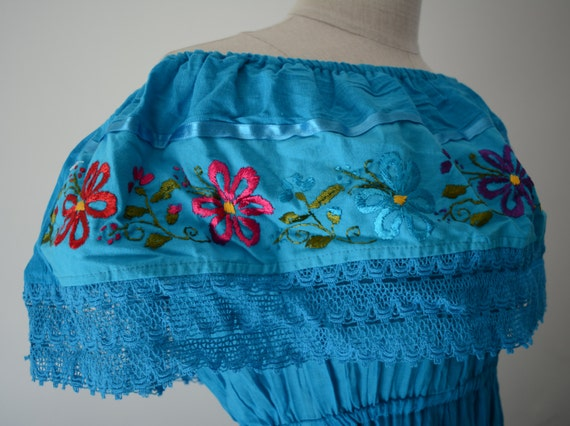 Mexican dress off shoulder blue colorful embroidered flowers