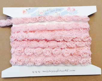rosebud trim. rosebud ribbon trim . pale pink rosebud trim