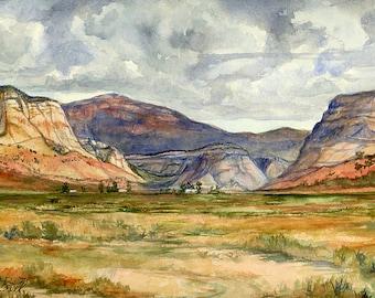 Original Watercolor Utah Painting, Utah Plein Air Painting, 9 x 12 inches