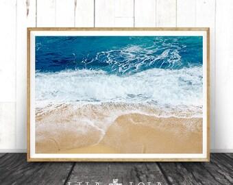 Ocean Beach Water Wall Art, Printable Modern Beach Print, Sand, Waves, Abstract Colour Photography, Coastal, Instant Digital Download