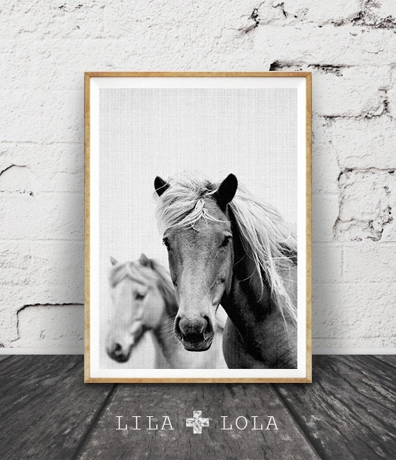 Wall Art Black Horse : Horse photo print black and white photography by