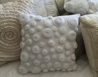 felt rossette pillow // throw pillow // decorative pillow // white throw pillow //