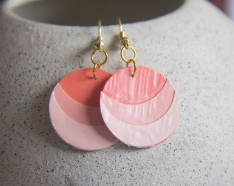 Ombré Peach Paint Chip Earrings