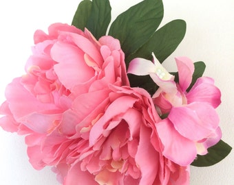 Large Statement Peony & Hydrangea Hair Flower / Clip
