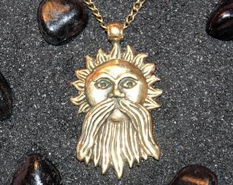 Beard Sun Slavic Yarilo Slavic Sun Sun with Beard Old Sun Slavic Symbol Pagan Pendant : Bronze Handmade Pendant with chain